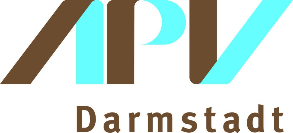 Logo mit den braun-türkisen Buchstaben A P V und Darmstadt darunter